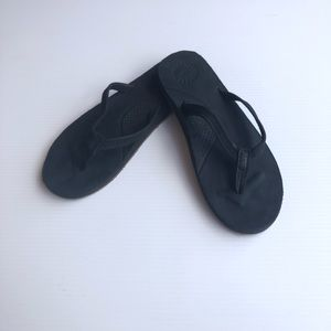UGG Black Leather Flipflop Sandals